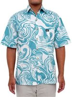 Rix Island Wear Waimea Seafoam Natural Cotton Men's Hawaiian Shirt Classic Fit