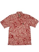 Rix Island Wear Kalai Red Cotton Linen Men's Hawaiian Shirt Classic Fit