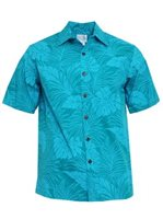 Anuenue Monstera Teal Poly Cotton Men's Hawaiian Shirt