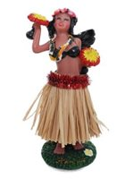 "Natural Red Hula Lady with 'Uli""Uli  Dashboard Doll 4"""