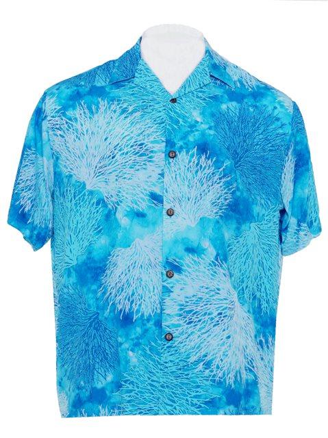 4b4d2eae Hilo Hattie Coral Turquoise Rayon Men's Hawaiian Shirt | AlohaOutlet