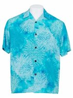 Hilo Hattie Coral Sea Green Rayon Men's Hawaiian Shirt