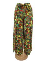 Taravana Hiriwa Brown Wrap Pants - Monstera Remix
