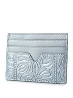 Happy Wahine Monstera Embossed Light Blue Metallic Card Case Meilany