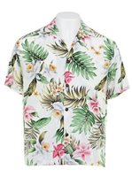 Royal Hawaiian Creations Orchid White Rayon Men's Hawaiian Shirt