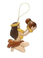 Aloha Wood Art Female Dancer w/ Ipu Wood Ornament