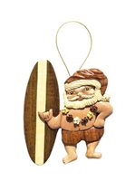 Aloha Wood Art Christmas Surfer Santa Ornament  Wood Ornament