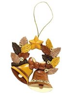 Aloha Wood Art Jingle Bells Wreath Ornament Wood Ornament
