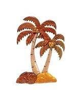 Aloha Wood Art Palm Tree 3 Tall & Short Wood Magnet