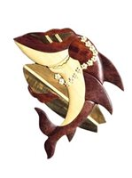 Aloha Wood Art Sufer Shark  Wood Magnet