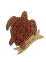 Aloha Wood Art Top View Honu with Raised Shell  Wood Magnet