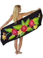 Sarong King Hibiscus  Black Half Size Hand Painted Pareo Sarong  with Pareo Holder