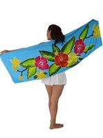 Sarong King Hibiscus  Turquoise Half Size Hand Painted Pareo Sarong  with Pareo Holder