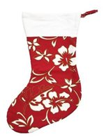 Hilo Hattie Classic Hibiscus Pareo Red Hawaiian Christmas Stocking