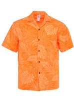 Hawaiian Leaves Orange Poly Cotton Men's Hawaiian Shirt