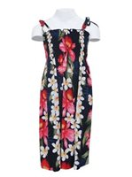 Two Palms Orchid & Plumeria Navy Rayon Girls Hawaiian Summer Dress
