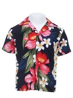 Two Palms Orchid & Plumeria Navy Rayon Boys Hawaiian Shirt