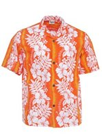 Royal Hawaiian Creations New Hibiscus Fern Panel Orange Poly Cotton Men's Hawaiian Shirt