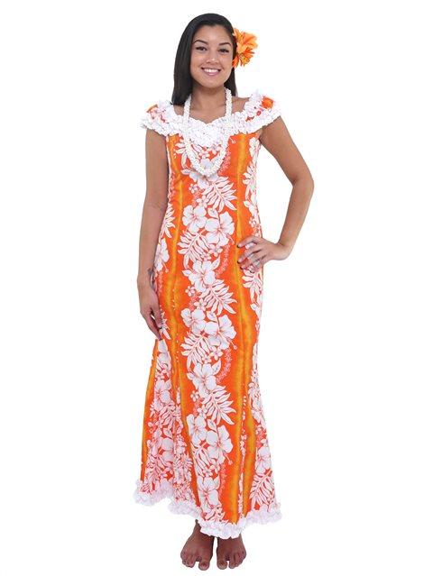 New Hibiscus Fern Panel Orange Poly Cotton Hawaiian Nahenahe Ruffle Long  Muumuu Dress 0be1756eec4f