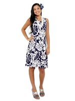 Royal Hawaiian Creations Hibiscus Monstera Navy Rayon Sleeveless Bias Dress