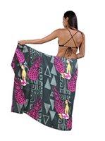 Hinano Tahiti Atalia Charcoal Screen Printed Pareo
