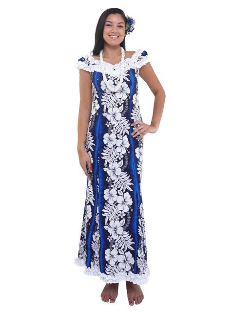 f309ee8b6d4 New Hibiscus Fern Panel Blue Poly Cotton Hawaiian Nahenahe Ruffle Long  Muumuu Dress
