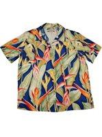 cec166b1 Paradise Found Heliconia Royal Navy Rayon Women's Hawaiian Shirt