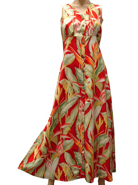 Paradise Found Heliconia Red Rayon Hawaiian Long Dress