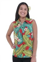 Hilo Hattie Plumeria Red Rayon Hawaiian Women's Camp Blouse