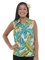 Hilo Hattie Plumeria White Rayon Hawaiian Women's Camp Blouse
