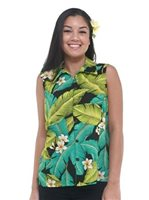 Hilo Hattie Plumeria Black Rayon Hawaiian Women's Camp Blouse