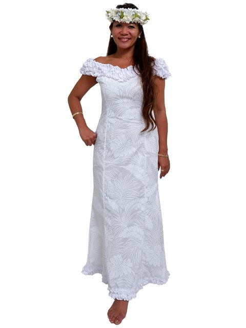 Monstera White Poly Cotton Hawaiian Nahenahe Ruffle Long Muumuu Dress