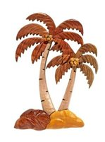 Aloha Wood Art Palm Tree (Tall & Short) Hawaiian Wall-Hanging