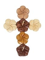 Aloha Wood Art Mixe Flowers Cross Hawaiian Wall-Hanging