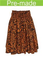 Tapa Black&Orange Poly Cotton Single Pau Skirt