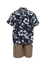 Hilo Hattie Classic Hibiscus Pareo Navy Cotton  Boys Hawaiian Shirt