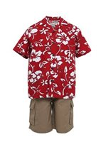 Hilo Hattie Classic Hibiscus Pareo Red Cotton  Boys Hawaiian Shirt