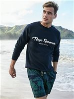 Reyn Spooner Spread Aloha Crewneck Navy Men's Hawaiian Fleece