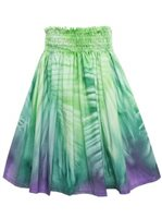 Bozo Palm Green&Purple Hand-dyed Single Pau Skirt