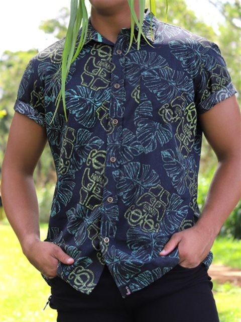 839f506b Hinano Tahiti Stefana Turquoise Men's Hawaiian Shirt   AlohaOutlet