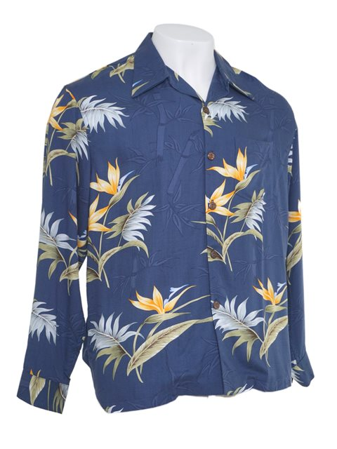 b2f2d8c5 Paradise Found Bamboo Paradise Navy Rayon Men's Long Sleeve Hawaiian Shirt