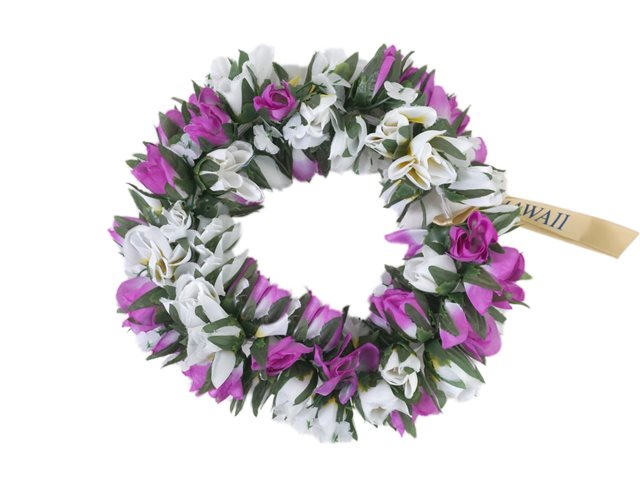 Purple   White Double Rose Bud Headband (Haku Lei)  0274d4b3ea1
