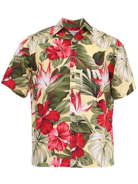 ae58a6f5b3 Hibiscus Paradise Yellow Cotton Men's Hawaiian Shirt