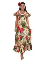 Anuenue Hibiscus Paradise Yellow Poly Cotton Puff Sleeve Gathers Maxi Dress