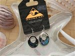 Oval Dangling Pewter Paua Shell Earrings