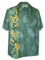 Pacific Legend Tropical Plant Panel Sage Cotton Men's Hawaiian Shirt
