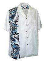 Pacific Legend Honu Panel White Cotton Men's Hawaiian Shirt