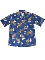 KY'S Pineapple Navy Men's Hawaiian Shirt