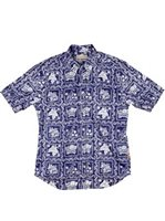 Reyn Spooner Lahaina Sailor Navy Cotton Polyester Men's Hawaiian Shirt Tailored Fit