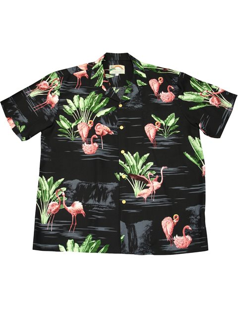 f3fb86df12 Paradise Found Nani Flamingo Black Rayon Men's Hawaiian Shirt ...